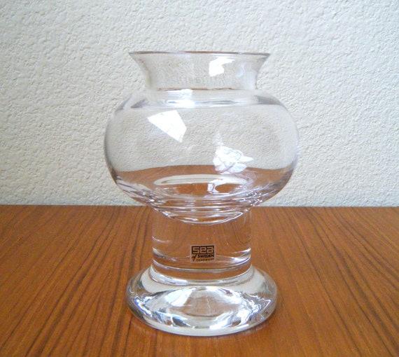Vintage Glass Vase / Hurricane Candle Holder, Sea Glasbruk 1970s Sweden