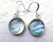 Stained Glass  Earrings Aquaswirl Drop