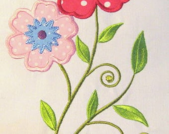 Vintage Flower 02 Machine Applique Embroidery Design - 5x7 & 6x8
