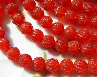 10mm Natural Carnelian Carved Roses - Semi-Precious Beads, 6 PC (INDOC994)