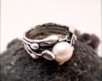 Pearl Ring Snow White Sterling Silver