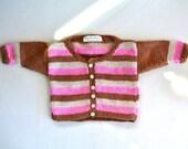 Pull - Baby Girl - Handknit - Alpaca - Acrylique