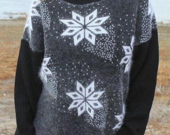 Snowflake - Vintage Pure Wool Slouchy Christmas Sweater, Lido Sports, Mens Medium / Womens Large
