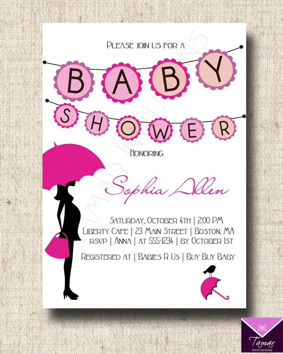 printable baby shower invitation card modern umbrella banner, Baby shower invitations