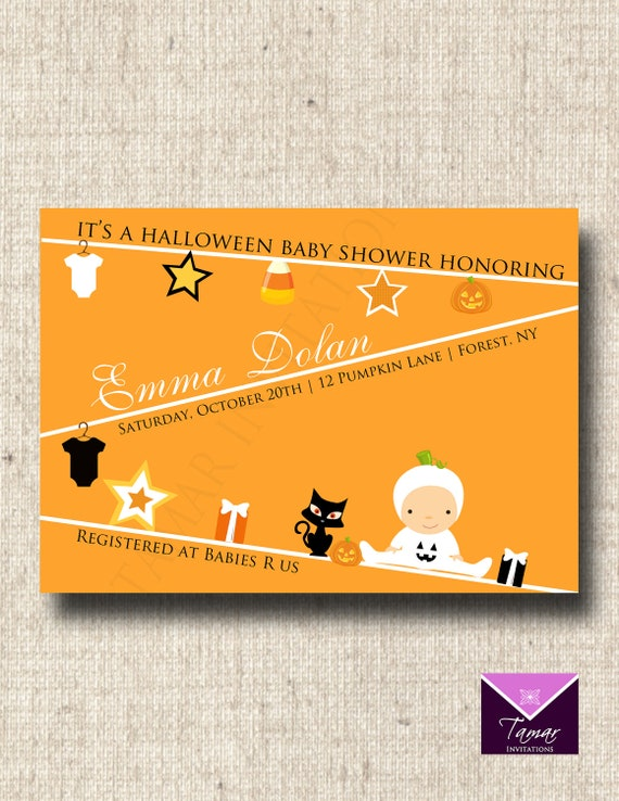 items similar to printable halloween baby shower invitation cute