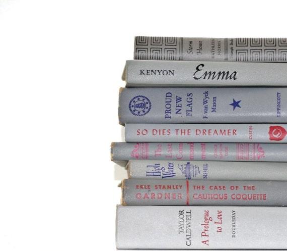 Grey 8 Book Vintage Collection Interior Design Vintage Book Decor