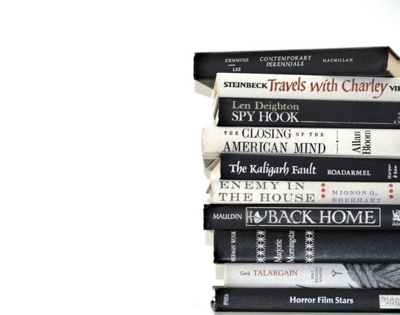 Vintage Black Soft White Grey 10 Book Collection Interior Design Mod Vitage Book decor