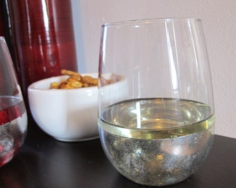 Stemless Silver Mirrored Wine Glasses