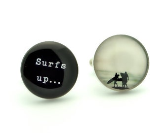 Surfs up beach cufflinks - gift for groom, groomsmen for your wedding day or Holiday - black and white vintage print