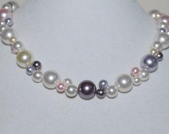 Multi-color Pearl Necklace, Bridal Necklace, Swarovski Pearl Necklace, Bridal Jewelry, Lavender, Mauve, Rosaline, White