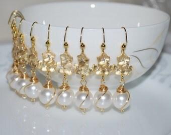 Bridesmaid Earrings - Set of 3, Bridal Flower Earrings, Triple-Flower Earrings, Wire Wrapped Pearl Drop Earrings, Wedding Jewelry