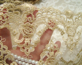 Gold Lace Trim, Vintage Lace Fabric Trim, Embroidery Lace Trim Gold Mesh Lace,