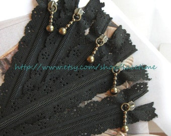 Long Zippers Scallop Lace Zippers Black Lace Zippers Clothes Purse Bags Metal Zipper 5's - 13 Inches