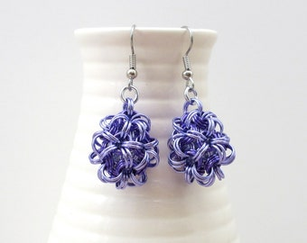 Purple chainmaille earrings, mini dodecahedrons