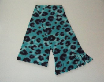 Winter Fleece Scarf  Turquoise and Black Leopard Print