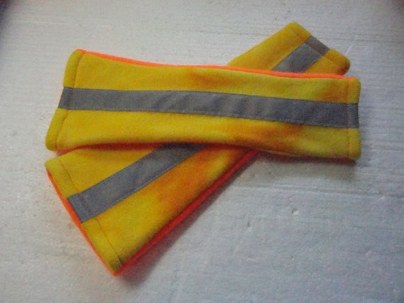 Fingerless Fleece Gloves or Arm Warmers with Reflective Tape