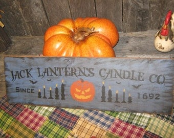 """Primitive Sign Large Holiday Wood Hand Painted Halloween Sign -  """" Jack Lantern's Candle Co. """"  Pumpkin Country Folkart"""