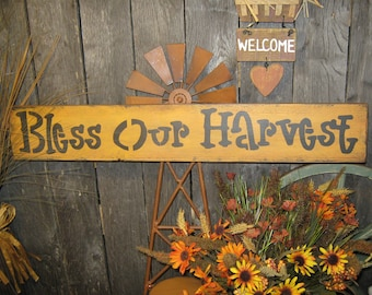 """Primitive Sign Wood Sign """" BLESS OUR HARVEST """" ThanksGiving Sign Holiday Fall Harvest Sign"""