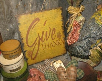 """Primitive Large Holiday Wooden Hand Painted Fall Sign -  """" GIVE THANKS """" ThanksGiving Everyday  Country Rustic Housewares"""
