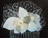Bridal Statement Comb - Bridal Hair Piece with Velvet Leaves - Wedding Hair Collage - Birdcage - A Bijoux Bridal Chicago Signature Design