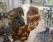 1920's Wedding Peacock Bridal Fascinator Headband, Art Deco Glam, Gatsby, Flapper, A Bijoux Bridal Chicago Signature Design