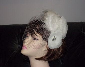 1920's Bridal Feathered Fascinator - Art Deco Glam Wedding, Gatsby 1920s Bride - Flapper Style - Zelda