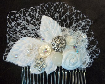 Bridal Statement Comb - Lace Bridal Hair Piece with Velvet Leaves - Wedding Hair Collage - Birdcage Trim
