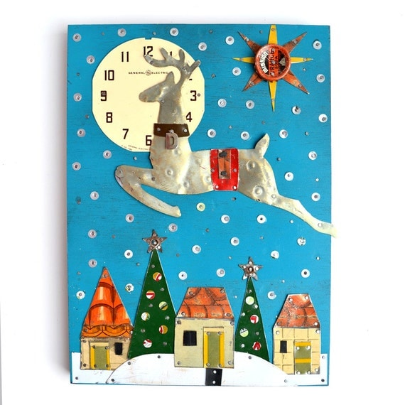 Two Nights Before Christmas  Reindeer Donner over snowy village original tin art by Elizabeth Rosen