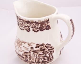 Vintage Barratts Elizabethan Staffordshire Ware Milk Jug, Brown Pattern