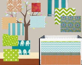 Baby Bedding Crib Set  Made to Order -  Quilt Bumper and Crib Skirt - Teal Orange Coral  Fabrics - Infant Toddler Blanket Set