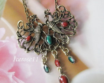 Antique brass peacock pendant necklace