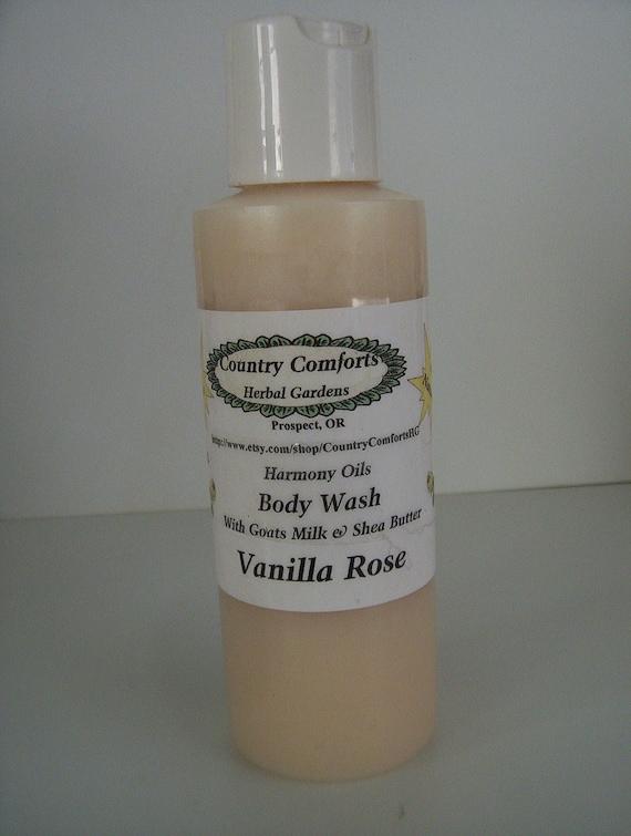 Vanilla Rose Natural Body Wash - Goatsmilk, Shea Butter & Silk Fiber - liquid soap, body soap, gentle soap, body cleanser - 4 oz bottle