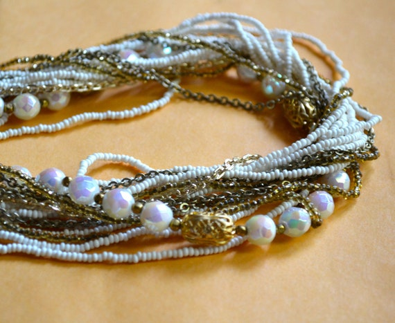 White Necklace, Multi Rows, Antique Gold Tone Filigree Spacers, Faux Pearls, Vintage Fine Jewelry