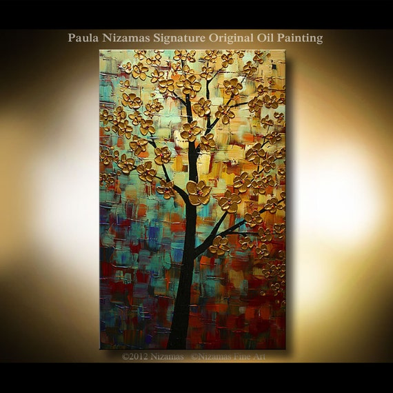 ORIGINAL Painting Oil Fine Art Multi - layer Texture Painting The Dream Tree, soft blue, ochre, sienna, brown, by P. Nizamas 36""