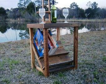 Barnwood End Table with Bookshelf