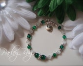 Parley Ray Baby Girls Emerald Green Bracelet with Heart Charm