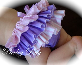 Beautiful Parley Ray Pink & Purple Spring Ruffled Baby Bloomers / Diaper Cover / Photo Props
