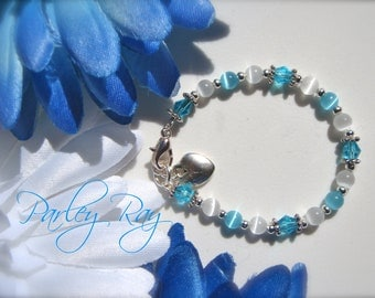 Beautiful Parley Ray Baby Blue Bracelet Cat Eye Beads, Swarovski Crystal, Heart Charm