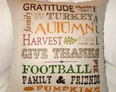 Autumn Subway Typography Fall Pillow, Harvest,Thanksgiving, Halloween Cushion, French Country Home Decor, Football, Pumpkins, Housewares