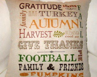 Fall Pillow, Autumn Typography Harvest Pillow, Thanksgiving Decor, Cushion, French Country Home Decor, Football, Pumpkins, Halloween