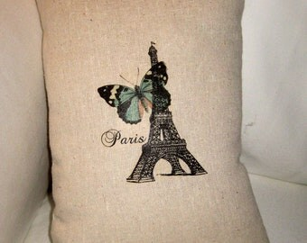 Spring Butterfly in Paris Pillow, French Inspired Eiffel Tower Cushion, Blue, Neutral Shabby Chic Home Decor, France, Eiffel Tower