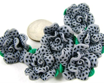 6 gray and black dotted rose beads 25mm polymer clay flower beads chunky and cute
