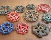 Instant Collection of 10  Industrial Valve  Metal Spigot Faucet Handles Cast Antique Garden Handle