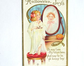 Vintage Halloween Postcard Young Girl and her Future Beau Halloween Joys Early 1900s