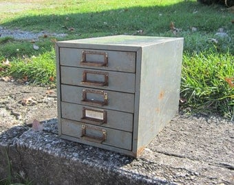 Vintage Industrial Cabinet for Storage or Display Rusted Gray Filing or Parts Cupboard Old