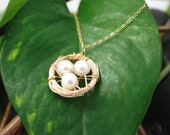 Bird Nest Necklace, 14K Gold Filled with Three Fresh Water Pearl Eggs