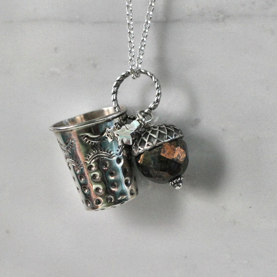 Peter Pan and Wendy Kisses Thimble and Acorn Necklace in Sterling Silver