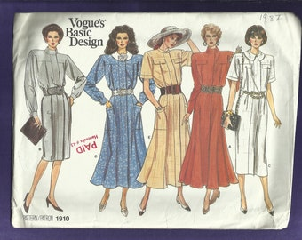 Vintage 1987 Vogue 1910 Straight or Flared Gored Dress with Strong Shoulders Sizes 8-10-12 UNCUT