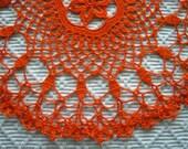 Bright Orange/Red Round Doily / Tabletopper / Centerpiece / Autumn