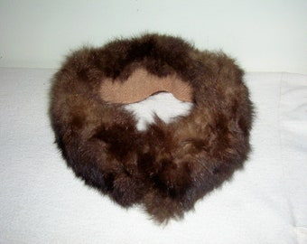 "Vintage Real Fur Collar Cloth Lined 24"" Detachable Wrap"